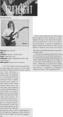 Guitar Player Magazine Spotlight column, October 1991, page 116